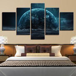 Toile Mur Art Images Cadre Restaurant Décor 5 Pièces Abstrait Planète Océan Paysage Salon HD Imprimé Affiche Peintures ? partir de fabricateur