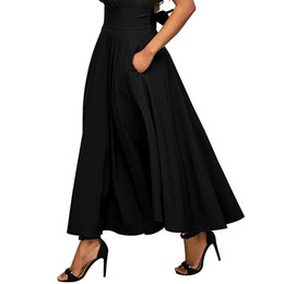 2018 Autumn Long Skirt With Pocket High Quality Cotton Solid Ankle-Length  Vintage Skirt For Women Black Long Skirt Plus Size f6796fa90