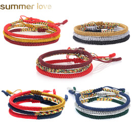 36edc5a8fb427 Handmade 3Pcs set Knots Rope Bracelet Multi Color Tibetan Buddhist Good Lucky  Charm Tibetan Braided Bracelets   Bangles For Women Men Jewelr
