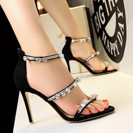 Wholesale Wholes Sales Dresses - Women Fashion High Heel Sandals Rhinestone Decorated Diamond Pumps Wedding Party Single Shoes Whole Sale Hot Sale