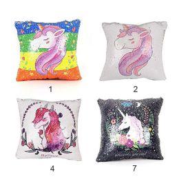 Wholesale Covers For Sofas - Sequins Unicorn Cushion Cover ofa Pillow Case Cartoon Decorative Mermaid Pillows For Sofa Reversible Pillowcase Home Decor Drop DHL 0711092