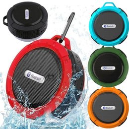Wholesale Iphone Suction Cups - C6 speaker Portable Waterproof Wireless Bluetooth Speaker Suction Cup Handsfree MIC Voice Box For iphone 6 7 8 iPad PC Phone