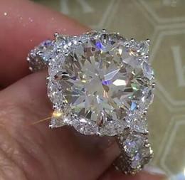 Wholesale Classic Gypsy - Large Diamond Ring Classic Temperament Diamond Ring Inlaid Round Super Flash Diamond Wedding Ring Gift Europe and America Popular S925 Rings