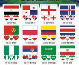 Wholesale Wholesale Body Stickers - 2018 FIFA World Cup Tattoo Sticker National Flag Banners Russia Football Match Soccer Fans Face Wrist Body Stickers