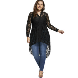 Hochwertige hemden online-ZAFUL Frauen Frühling Plus Size Spitzenbluse Frauen Top Langarm V-ausschnitt High Low Hem Schwarz Shirts Blusen Mode Blusas Femininas