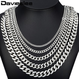 силиконовые бусины для ювелирных изделий оптом Скидка Davieslee 60cm Mens Chain Silver Color Stainless Steel Necklace for Men Curb Cuban Link Hip Hop Jewelry 3/5/7/9/11mm DLKNM07