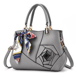 Wholesale Elegant Checks - New Fashion Women's handbags Elegant Leather Tote With Scarves Rose Ladies Shoulder bag Females Crossbody Bags Bolsas