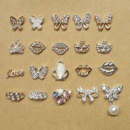 Wholesale Silver Glitter Nails - Glitter Rhinestone 3d Nail Art Butterfly Lip Crown Mask Love Pattern Gold Silver Alloy Nails Jewelry 10pcs NP132