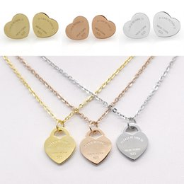 Wholesale Rose Gold Necklace Set Heart - HQ Simple T Brand Stainless Steel Earrings Necklace Jewelry Set Love Heart English Letters Necklace For Women Lady with Logo