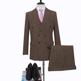 Rabatt Men S Brown Suit 2019 Manner S Hochzeit Anzug Braun Im