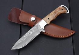 Hoja fija de acero de damasco online-Nuevo Envío gratis! Cuchillo de hoja fijo de zorro de sangre de Damasco con acero de Damasco Cuchillo de caza de acero de alta calidad Cuchillo EDC con