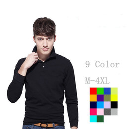 Wholesale hot pink shirts for sale - Brand Clothing 2018 New Men's Crocodile Embroidery Polo Shirt For Men Polos Men Cotton Long Sleeve shirt s-ports jerseys Plus M-4XL Hot Sale