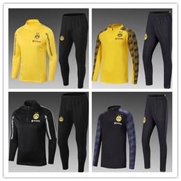 2018/19 Borussia Dortmund chándal chaqueta conjunto de hombres de manga larga traje de entrenamiento pantalones de fútbol Borussia Aubameyang Reus ropa de deportes desgaste desde fabricantes