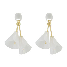 Wholesale Horn Shaped Pendants - idealway New Fashion personality 4 Colors Gold Plated Alloy Resin Horn Shape pendant Earrings Jewelry 6Pairs lot