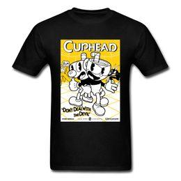 Comercio al por mayor Doble Trouble Comic Game Top camisetas cuello redondo 100% algodón Tops de los hombres Cuphead Summer Party Tee Shirts desde fabricantes