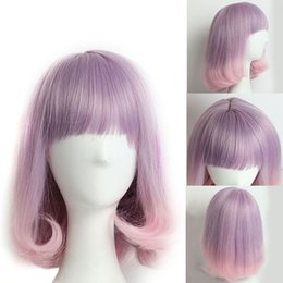 Wholesale Pink Bangs - Pink Purple Ombre Wig with Bangs Long Wavy Wig Women's Synthetic Hair Cosplay Wig and Cap Heat Resistant Synthetic Wigs for Black Women