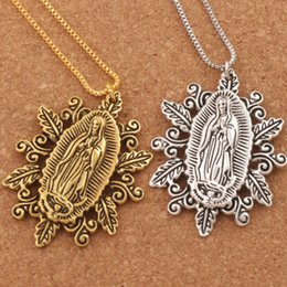 Wholesale Holy Pendants - 2colors Our Lady of the Holy Scapular Medal Pendant Necklaces N1790 24inches 50X37mm Hot sell Jewelry