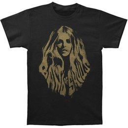 Cráneo pelo negro online-Band Of Skulls Hombres camiseta de pelo Negro Rockabilia Moda Hombre Camisetas