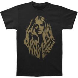 Banda de pelo hombre negro online-Band Of Skulls Hombres camiseta de pelo Negro Rockabilia Moda Hombre Camisetas