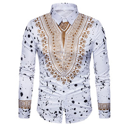 african print men designs Coupons - Dress Shirt Men Autumn Casual African Print Pullover Long Sleeved Korean Slim Design Casual Male Dress Shirt Camisa Masculina