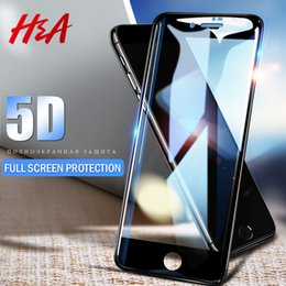Canada HA 5D Verre Trempé Pleine Couverture Pour iPhone 7 6 6s X 8 Plus Film de Protection Ecran Incurvé Pour iPhone X 8 7 Plus Film de Protection en Verre cheap iphone full covers Offre