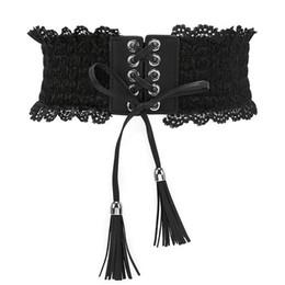 Larghe cinghie di pizzo online-Corea cinturino elastico in vita Lady sexy ampio corsetto in pizzo cintura abito moda accessori Harajuku Cinture Cinturon Mujer Vestido