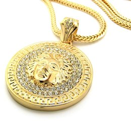 Wholesale Hip Hop Jesus Pendant - Hip hop long necklace 24K gold plated Medusa Avatar High quality crystal jesus piece pendant Fashion Jewelry for women & men XQ03