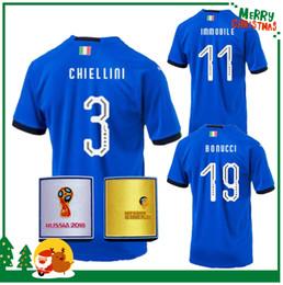 Wholesale Soccer Jerseys Pirlo - Russia World Cup 2018 Italy BUFFON Soccer jersey MARCHISIO BALOTELLI DE ROSSI IMMOBILE PIRLO VERRATTI CHIELLINI PELLE shirt