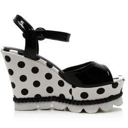 Wholesale Popular Grains - Popular Full Grain Leather Buckle Strap Summer Sandals Platform High Heels Wedges Shoes Woman Dots Fashion Black & Red 2016