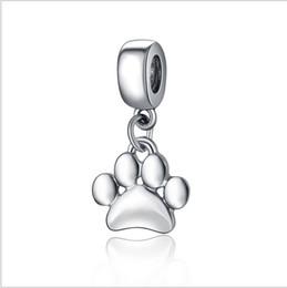 серебряная собака прелести пандора Скидка Подходит Pandora браслеты 30 шт. собака Лапа печати кулон серебряные подвески шарик мотаться Шарм бусины для оптовой Diy Европейский стерлингового ожерелье ювелирные изделия