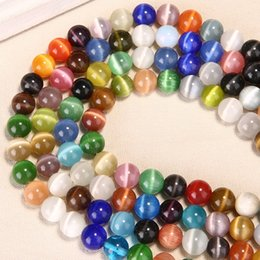 Wholesale Glass Picks - 1 Strand Pick Up Size 4mm 6mm 8mm 10mm 12 mm Cat Eye Beads Mixed Color Natural Stone Glass Seed Loose Beads for DIY Jewelry