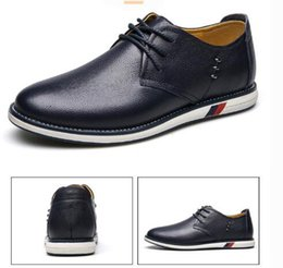 Wholesale Cheap White Men Dressing Shoe - New Style New Cheap Mens Loafers Genuine Leather Casual Flats Men dress Shoes Breathable Black Slip on Shoes Big Size