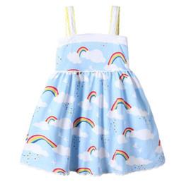Vestido de impressão em nuvem on-line-Bebê meninas rainbow colete dress cloud sky impresso rendas borda projeto suspender saia macio respirável dress 2018 vestidos de verão crianças roupas