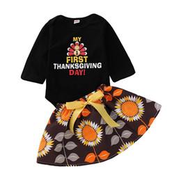 Arcs de dinde en Ligne-Thanksgiving bébé tenues enfants filles Turquie lettre impression barboteuse + arc jupes 2pcs / set 2018 automne mode enfants ensembles de vêtements C5281