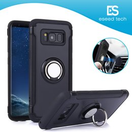 cellphone ring case Promo Codes - For Samsung S9 S8 Iphone X XR XS MAX NOTE 8 Cellphone Case Dual Layer With Iron Sheet Car Holder Magnetic Bracket Ring Armor Phone Case