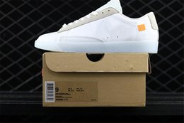 Wholesale Size Eur 42 - OFF X Blazer Low Casual Shoes Womens White Sports Shoes Orange Tags Suede Leather Outdoors Sneakers for Women Size Eur 36-42