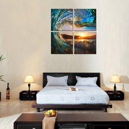 Wholesale Wave Wall Decoration - 4 Panels Canvas Painting Blue Rolling Waves Wall Art For Home Decoration Ready to Hang with Wooden Framed Seascape Painting Print on Canvas