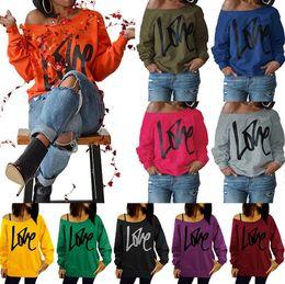 Wholesale Rounded Shoulders - Love Letters Off Shoulder Hoodie Spring Sexy Printed Long Sleeve Sweatshirt Tops Women Oversized Pullover Hoodies 10 Colors OOA4076