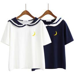 Canada Femmes Harajuku Lettre T Shirt Collar Marin Kawaii Broderie Tee Tops Femme Été À Manches Courtes T-Shirt Lâche Femme supplier sailor embroidery Offre