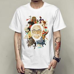 Wholesale Cartoons Artist - Comics artist t shirt Miyazaki Hayao cartoonist short sleeve gown Cartoon writer breathable tees Unisex clothing Quality modal Tshirt