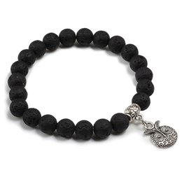 Каменные кресты ручной работы онлайн-8MM Natural Volcanic Stone Black Lava  Handmade Bracelet Men 10 Style Silver Cross Key Moon Pendant Bracelets Women Jewelry