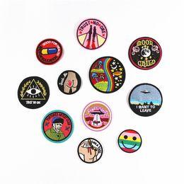 Patch de tecido redondo on-line-5 pcs diy multicolor patch rodada padrão bonito dos desenhos animados bordado costurar ferro no remendo emblema sacos chapéu cap jeans applique transferência de tecido