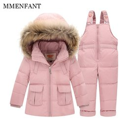Wholesale Baby Red Overalls - 2pc Children clothes Winter Down Jacket Baby Warm Outerwear Coats Girls Set Coat Kids Ski Suit Jumpsuit For Boys Baby Overalls