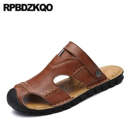 italian slippers shoe Coupons - Beach Slippers Mules Slides Shoes Men Sandals Leather Summer Brown Italian Black Sneakers Breathable Yellow Closed Toe Water