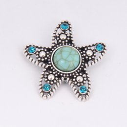 Wholesale Cheap Starfish - Fashion Cheap Snap Button 18mm Noosa Starfish Ginger Snap Jewelry DIY Necklace Bracelet Accessory