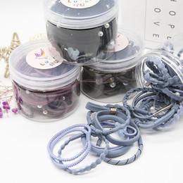 Wholesale Elastic Pearl Ring - Korean version of 24 sets of simple women's hair ring headdress high elasticity tied hair elastic band