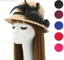 Wholesale Top Hat Cocktail - Feather Women Hair Accessories Fascinator Hat Cocktail Party Wedding Headpiece Court Headwear Lady Stingy Brim Hats
