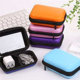 Wholesale Office Card Stock - 12x8x4cm Black Fiber Zipper Headphones Earphone Earbuds Hard Case Storage Carrying Pouch Bags SD Card Hold Box