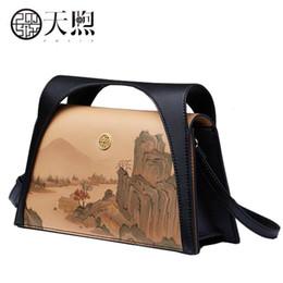Sacs à main en cuir peint en Ligne-Nouvelles femmes sacs en cuir mode paysage peinture sacs à main de luxe concepteur femmes sac fourre-tout sacs à main sacs à bandoulière