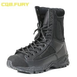 Mens tobillo botas correas online-CQB.FURY Mens Leather Tactical Army Boots correa para el tobillo combate negro Botas cómodas Transpirable tamaño 38-46 ZD-Aire